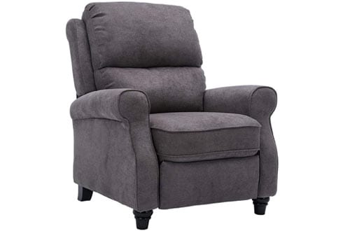 BONZY Recliner Roll Arm Easy to Push Mechanism Recliner Chair - Warm Gray