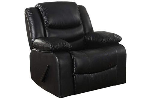 Bonded Leather Rocker Recliner Living Room Chair