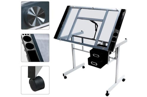Yaheetech Adjustable Tempered Glass Top Drafting Drawing Desk