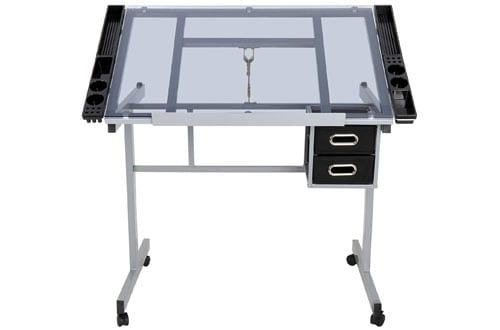 ZENY Adjustable Tempered Glass Top Drafting Table Desk