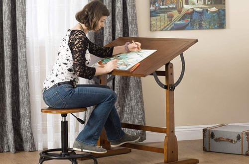 "Studio Designs 36""x24"" Rustic Oak Vintage Drafting Table"