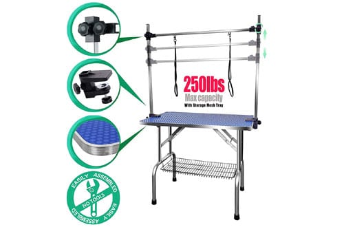 SCYL 36-Inch Foldable Large Dog Grooming Table with Arm