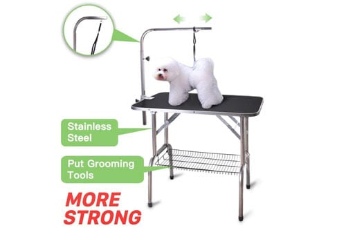 Polar Aurora Pingkay Foldable Heavy Duty Dog Grooming Table with Arm