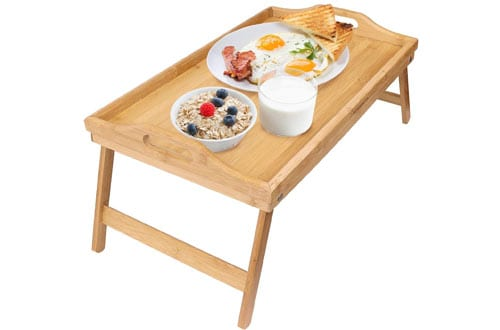 Greenco Bamboo Breakfast Table and Laptop Tray for Bed