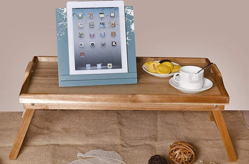 WELLAND Acacia Folding Breakfast Bed Tray & Serving Tray for Laptop