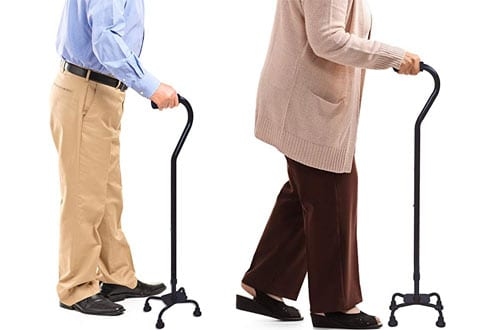 BrightCare Adjustable and Lightweight Quad Cane with Small Base for Men and Women
