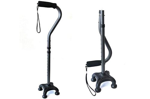Ez2care Adjustable Lightweight Folding Quad Cane
