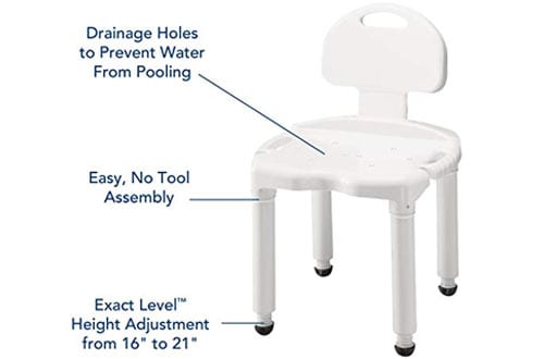 Carex Bath Seat and Adjustable Shower Chair With Back