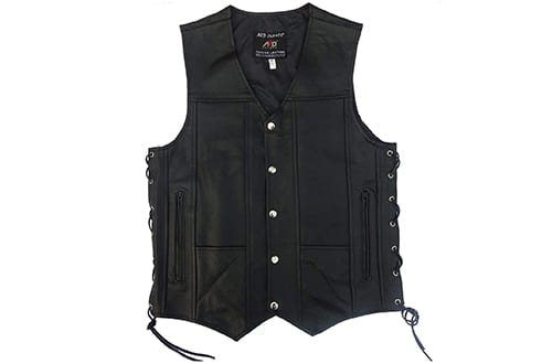 4Fit Men's Black Genuine Leather vest 10 pockets