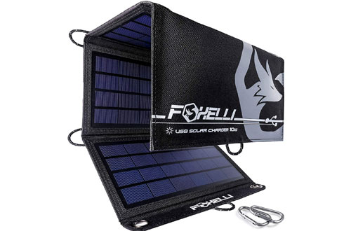 Foxelli Dual USB Solar Charger 10W - Foldable Solar Panel Phone Charger