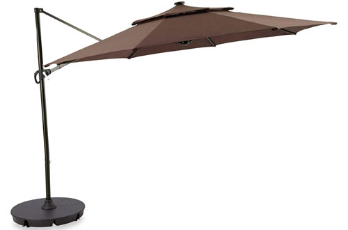 Outdoor Patio Cantilever Umbrella 11 Foot Round Canopy with Solar Powered Lights