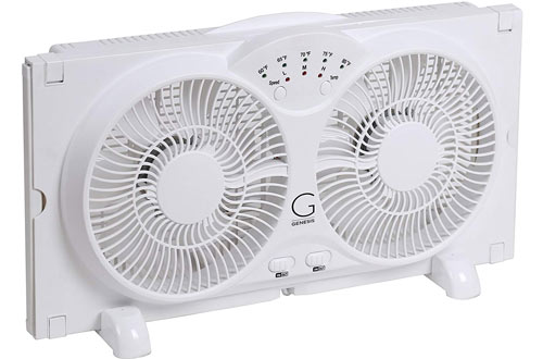Genesis Twin Reversible AirFlow Window Fan with Adjustable Thermostat
