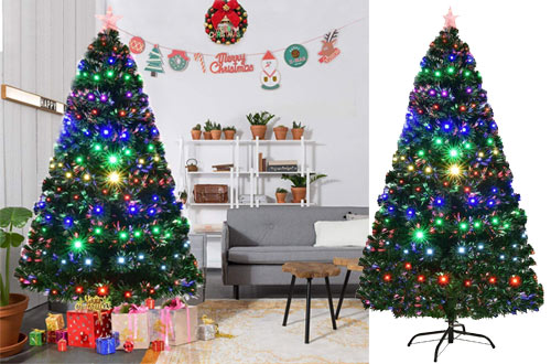 Goplus 7ft Artificial Optical Fiber Christmas Trees with Multicoloured LED Lights & Metal Stand