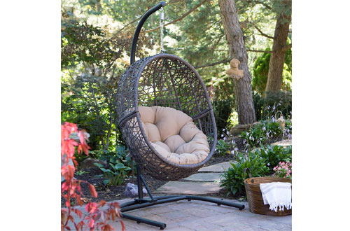 Resin Wicker Hanging Egg Chairs with Tufted Cushion and Stand